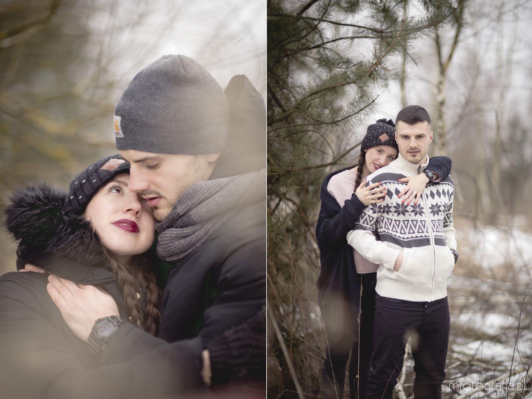 zdjęciowe sesje narzeczeńskie zimą