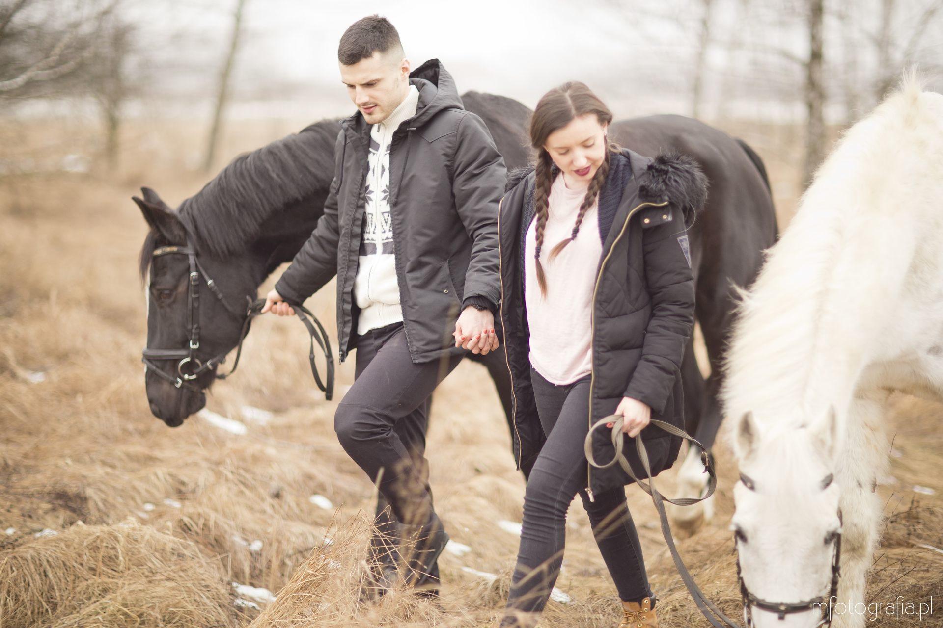 zdjęcia par na sesji fotograficznej z końmi