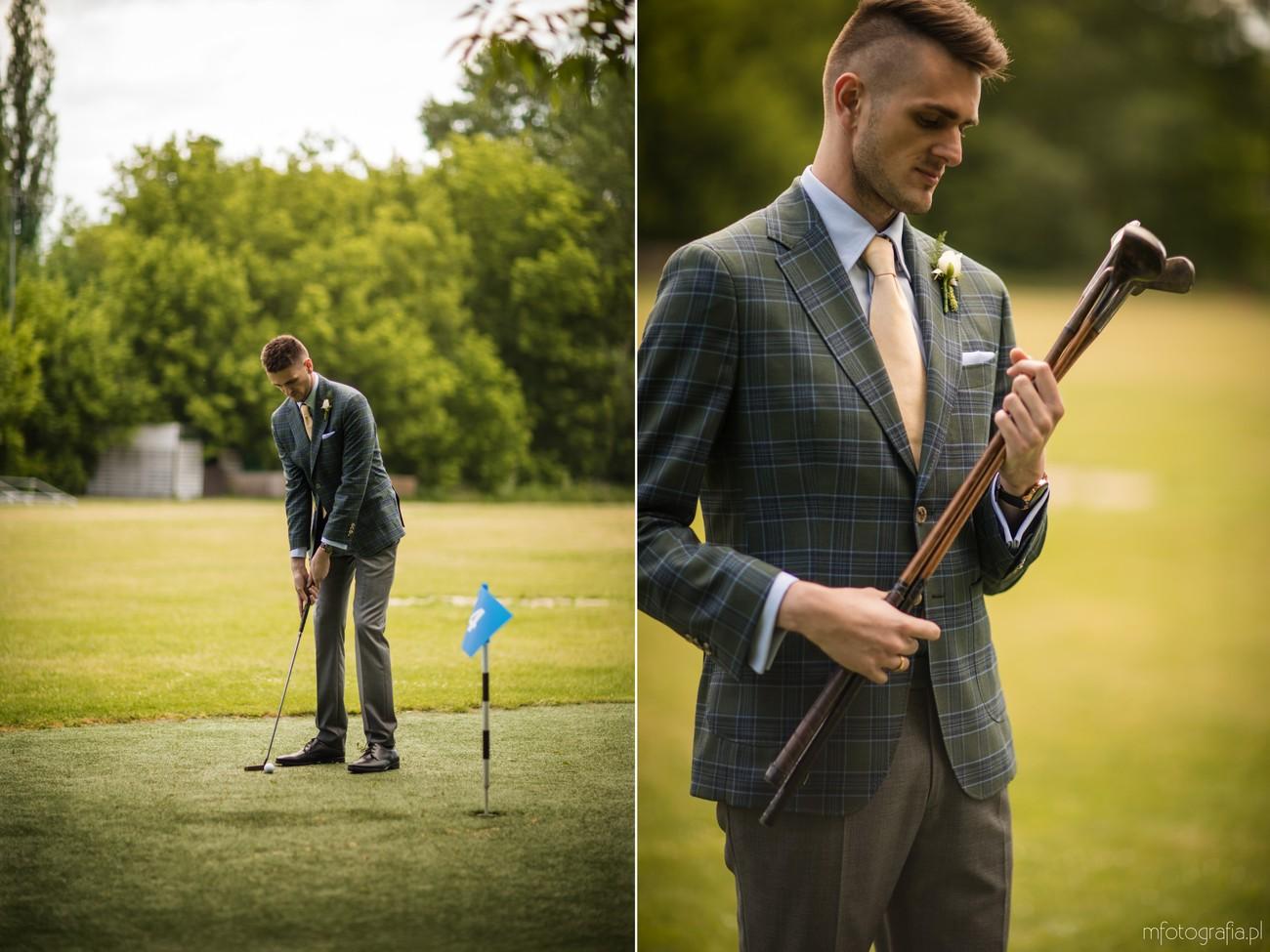 golfowa sesja ślubna