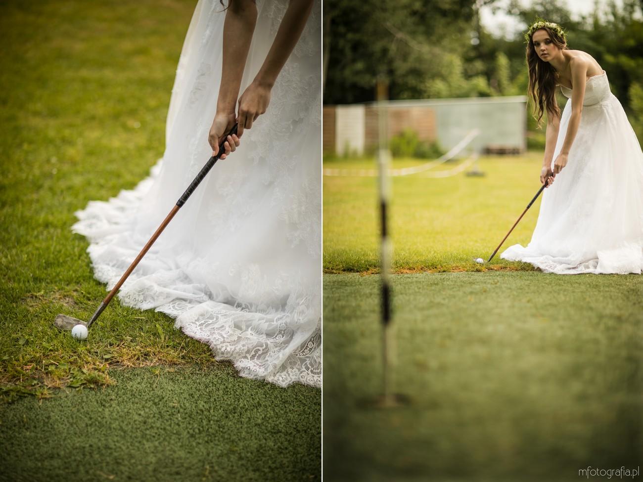 pani młoda gra w golfa