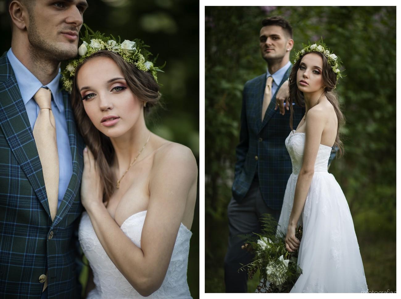 zielone dodatki na sesji ślubnej