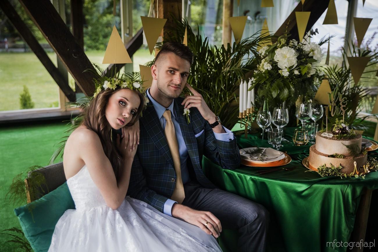 elegancki zielony ślub