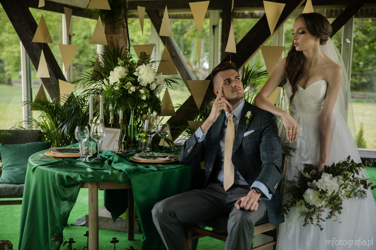 zielono złote dodatki ślubne