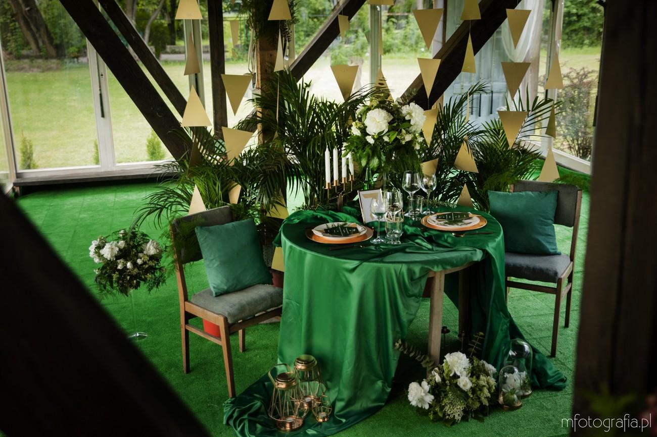 elegancki ślub butelkowa zieleń