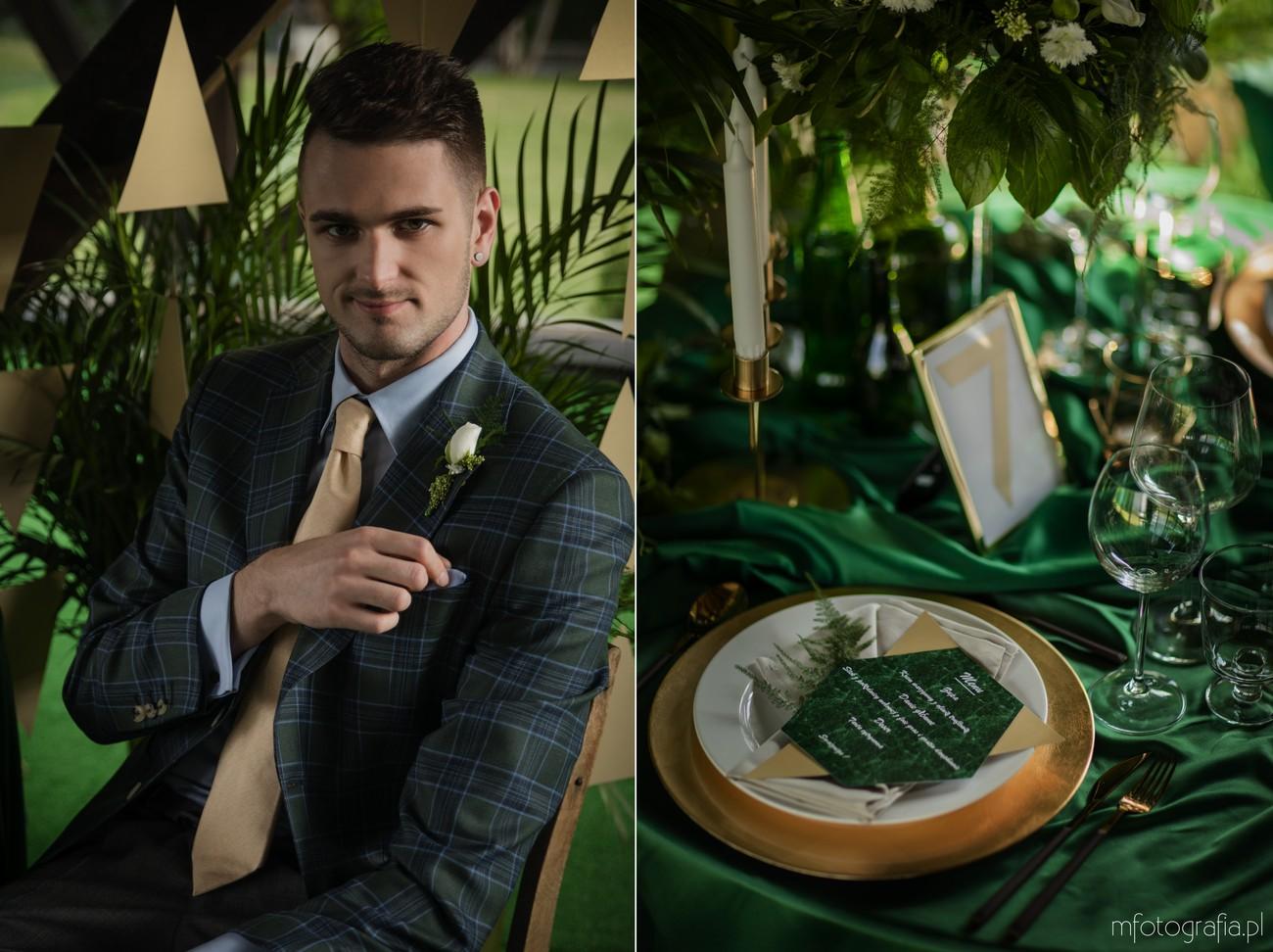 zielony garnitur pana młodego