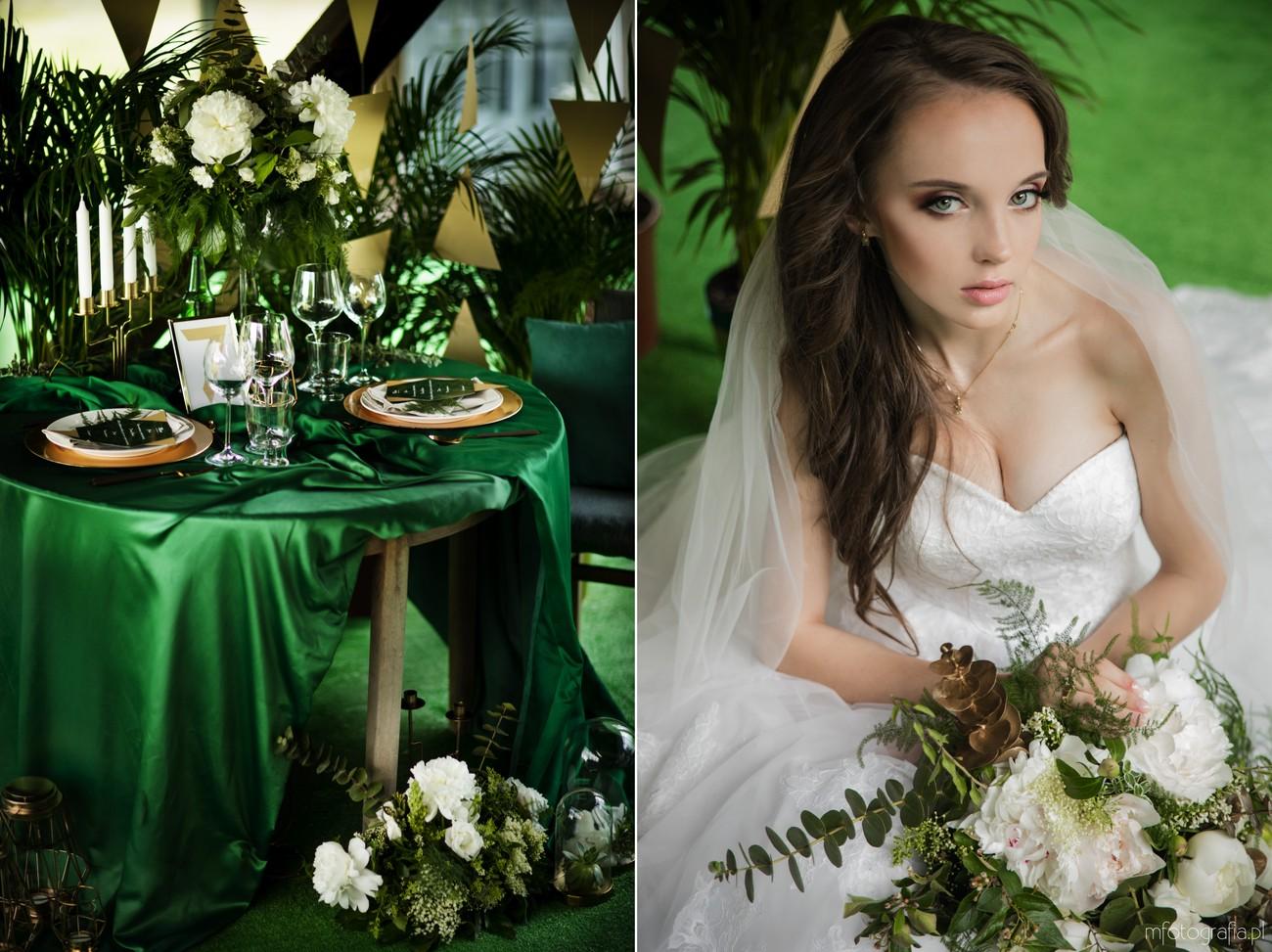 zielony obrus ślubny