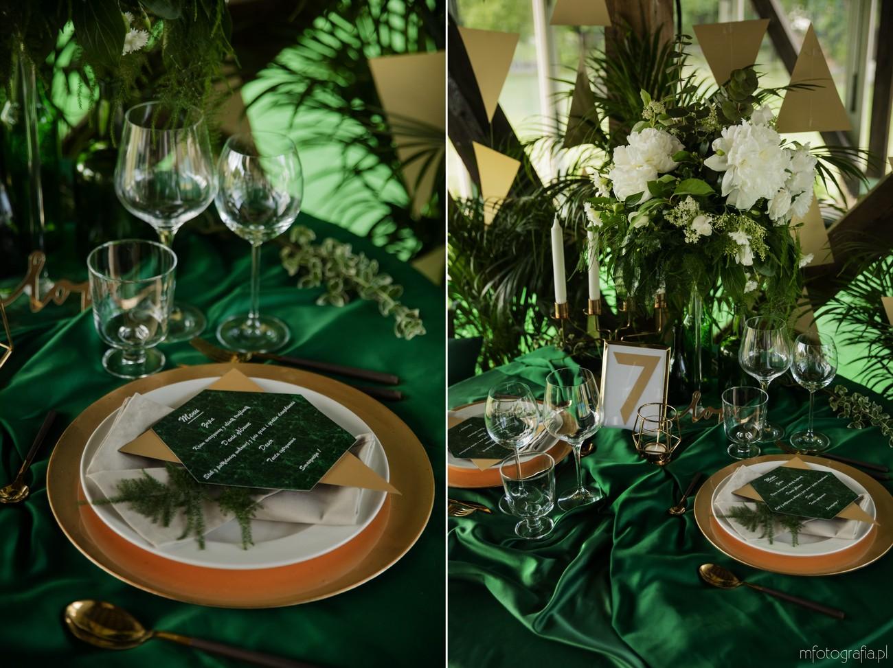 zielono złoty ślub