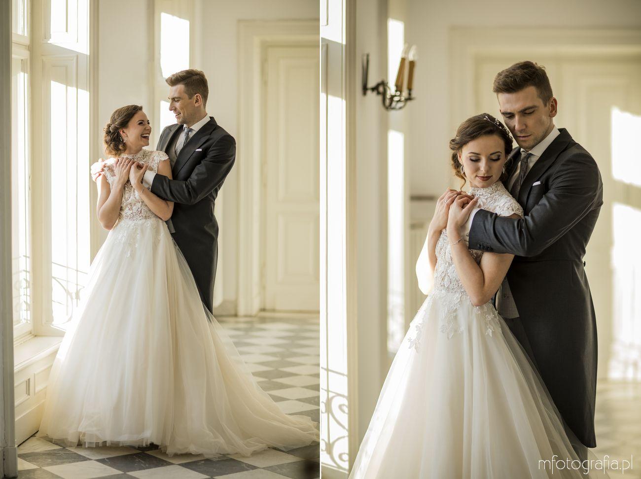 elegancki ślub zimą w komnatach pałacowych