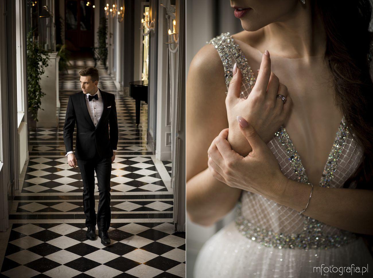 Pan Młody na sesji ślubnej w pałacu