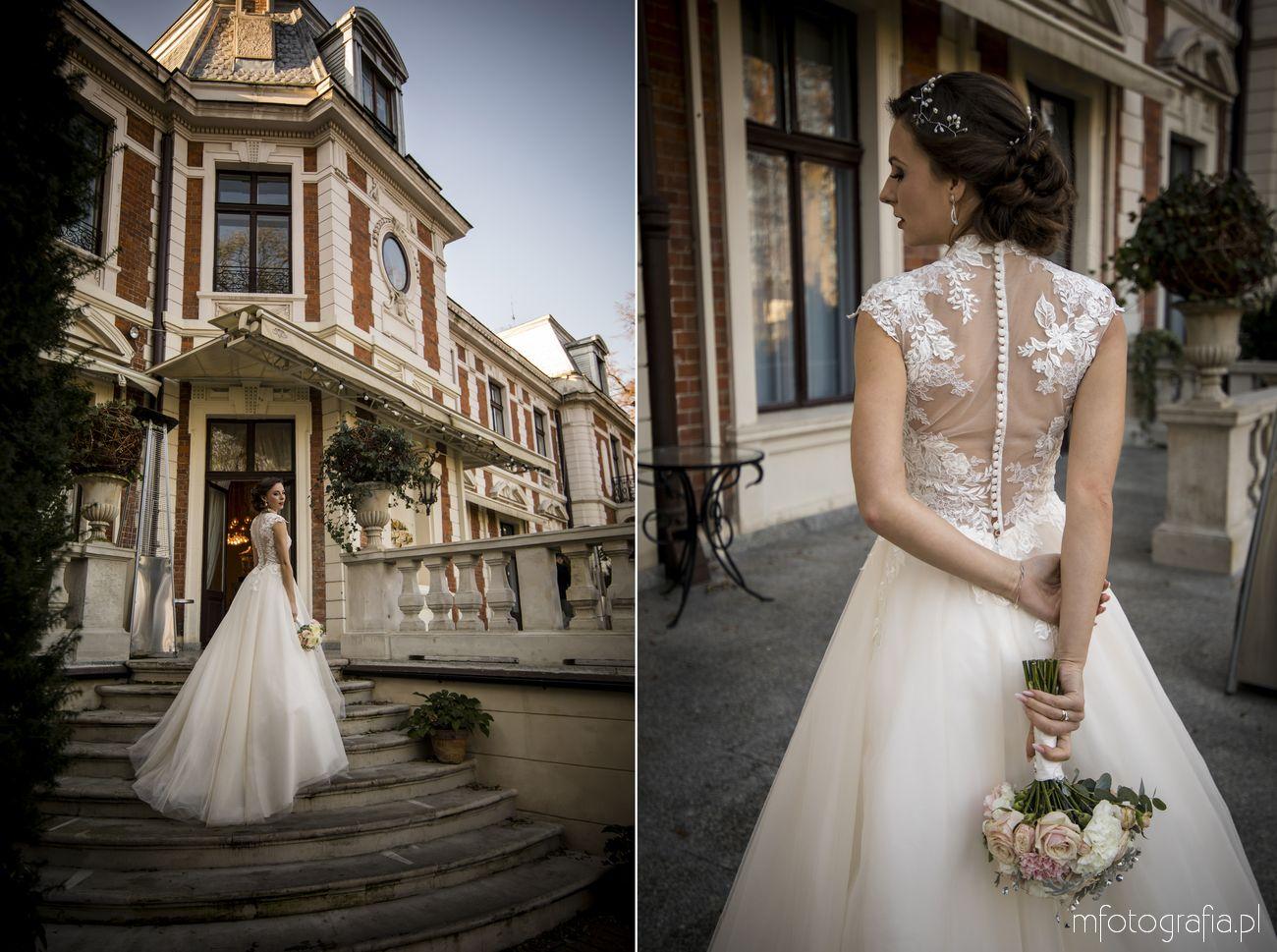 Portret ślubny pani młodej w pałacowym ogrodzie