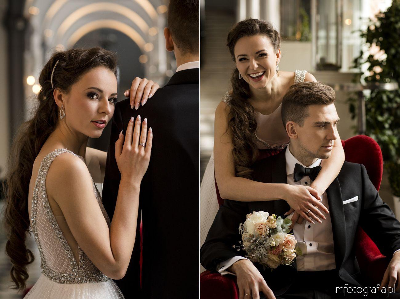 Ekspresyjna sesja ślubna glamour w Endorfinie z portretami Młodych