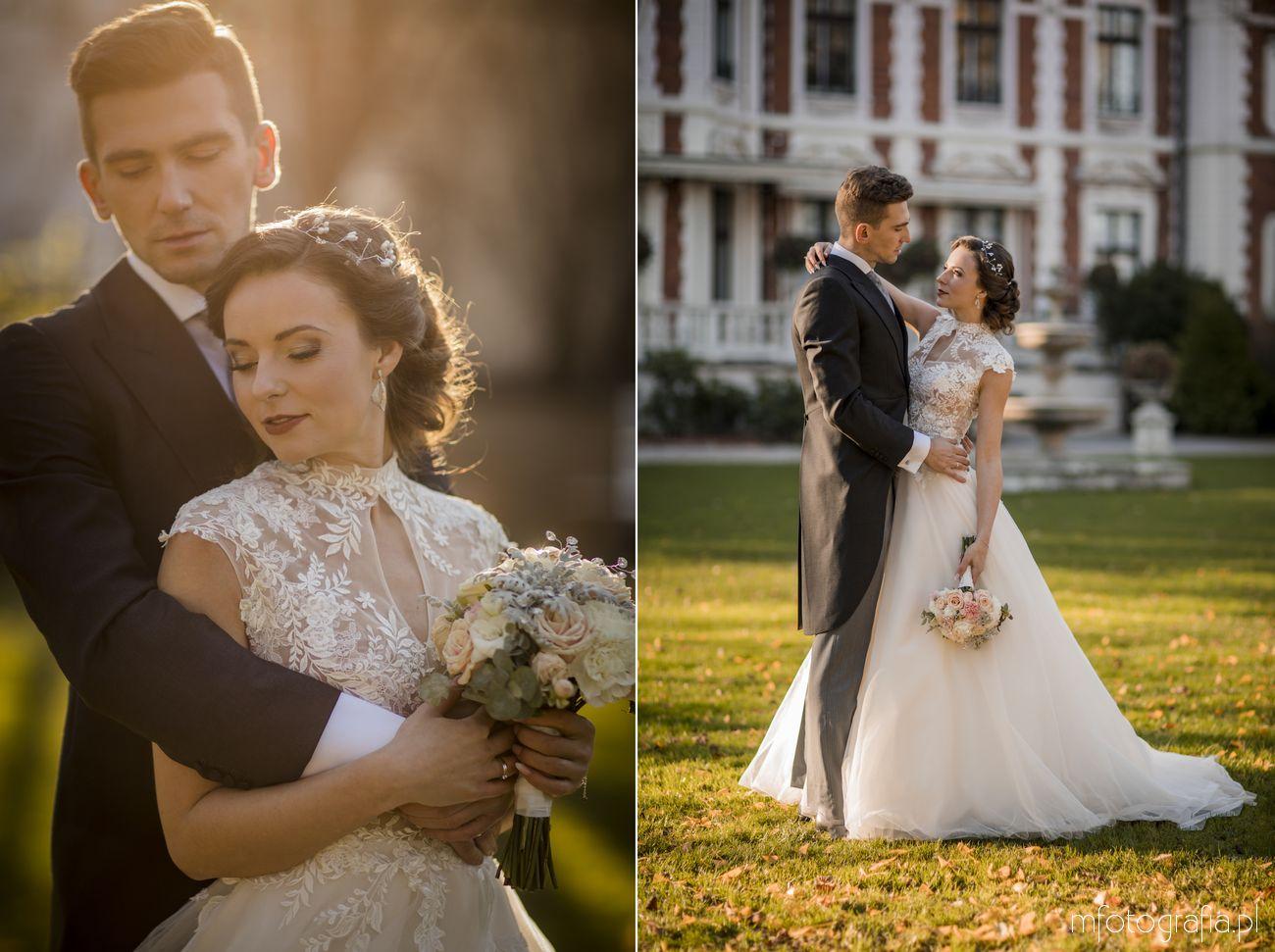 Para Młoda na sesia ślubnej w ogrodzie angielskim