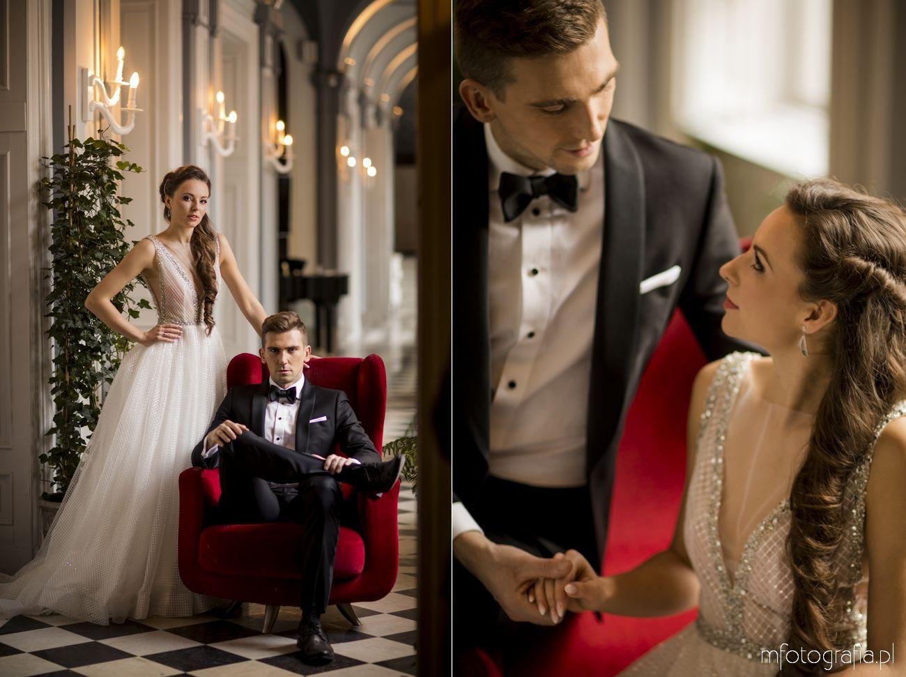 Poślubna sesja zdjęciowa w pałacu Zamoyskich w Warszawie