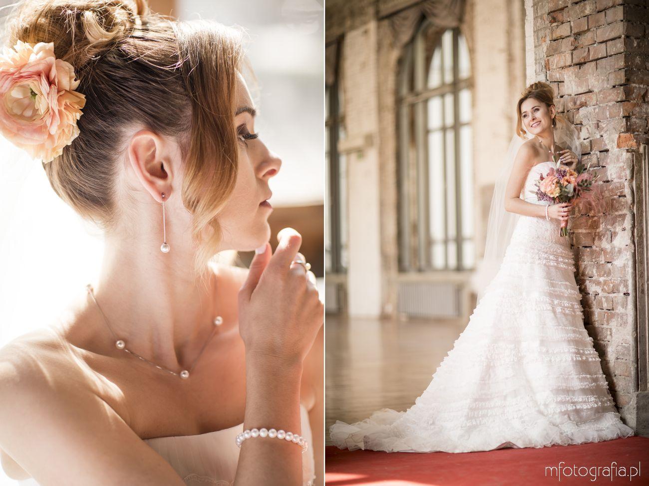 Portret Panny Młodej w biżuterii ślubnej z firmy aren jubiler