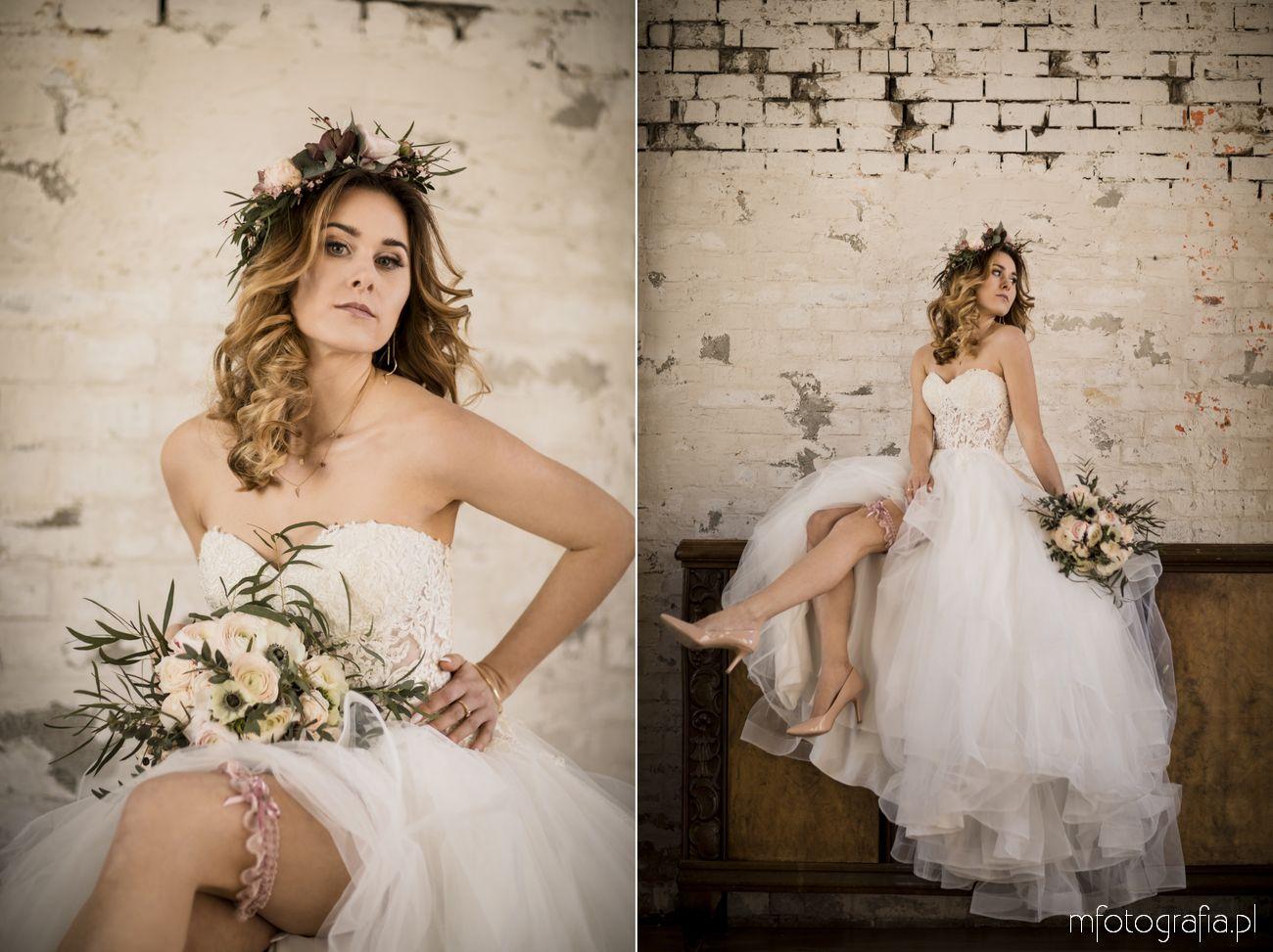 Romantyczny portret ślubny Panny Młodej w sukni księżniczce